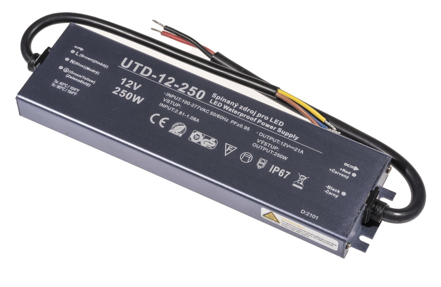 T-LED LED zdroj (trafo) 12V 250W IP67 Premium
