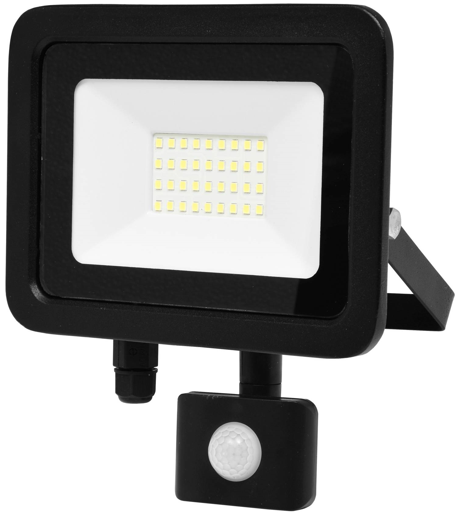 Ecolite Čierny LED reflektor 30W s pohybovym čidlom RLED48WL-30W/PIR
