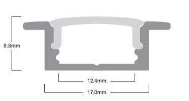 LED Solution Vstavaný profil pre LED pásiky V1 varianty: Profil + Nacvakávací opálový kryt 2m