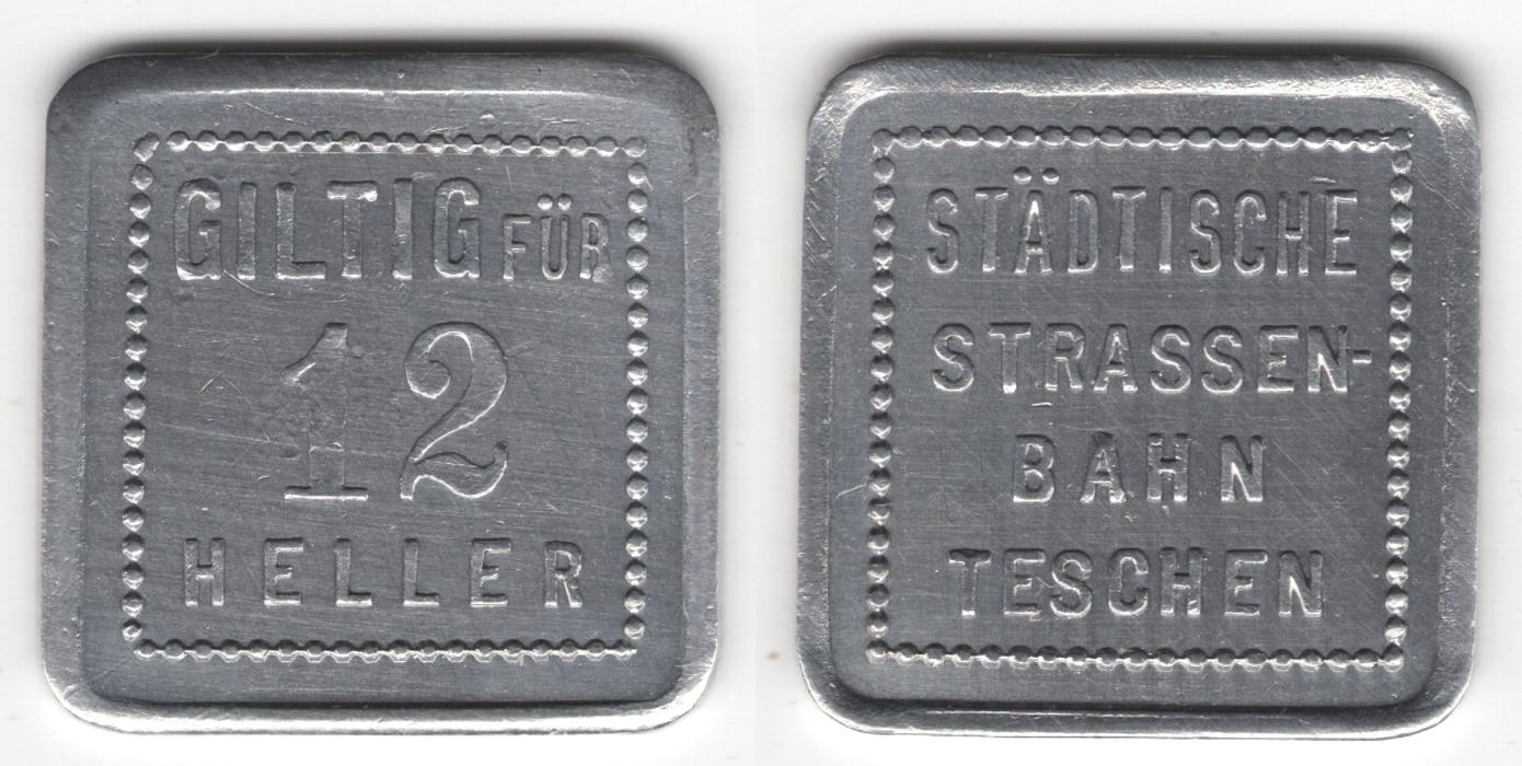 žeton 12 halířů Těšínské Tramvaje 1910