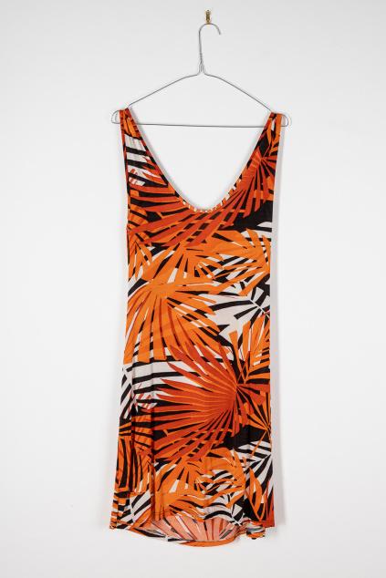 Oranžové Vzorované Šaty