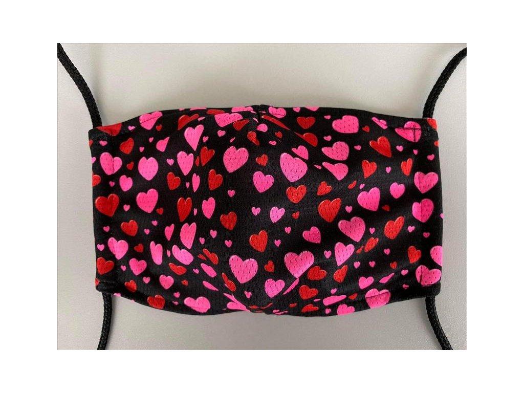 Rouška - designová LOVE s kapsičkou pro NANO FILTER