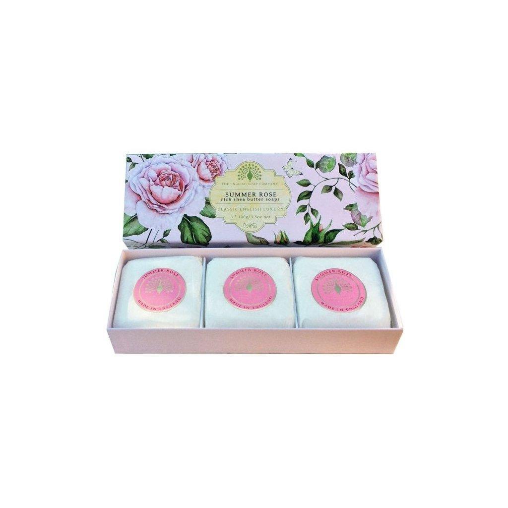 Mýdlová kazeta Letní růže, 3x100g