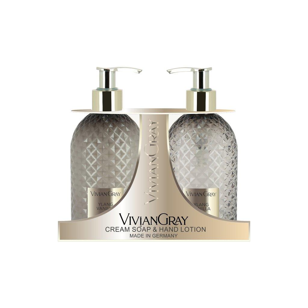 SET Tekuté mýdlo a Mléko na ruce Vivian Gray CRYSTAL Ylang a Vanilka, 2x300ml