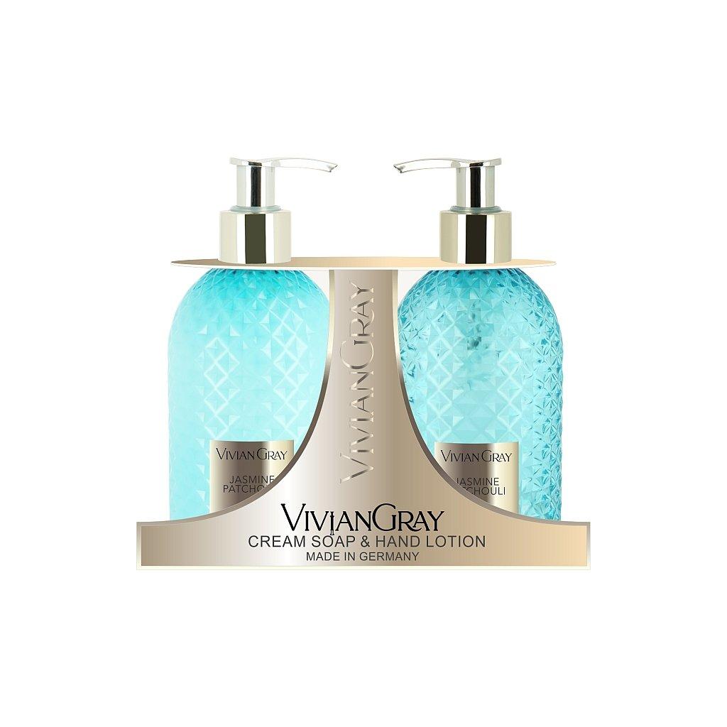 SET Tekuté mýdlo a Mléko na ruce Vivian Gray CRYSTAL Jasmín a Patchouli 2x300ml