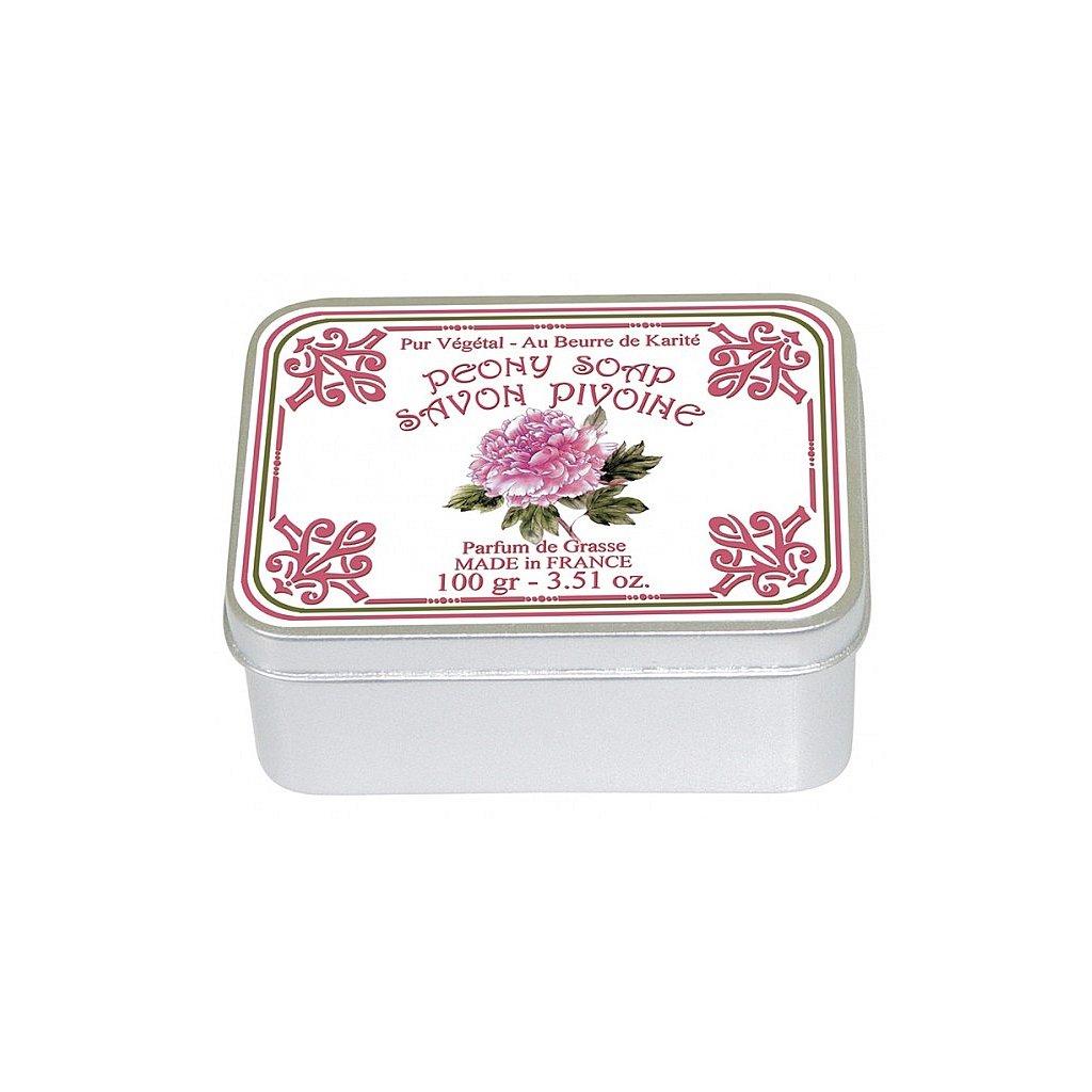 Toaletní mýdlo v kovové krabičce, Pivoňka, 100g