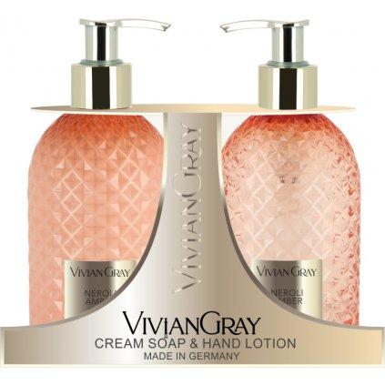 SET Tekuté mýdlo a Mléko na ruce Vivian Gray CRYSTAL Neroli a Ambra, 300ml