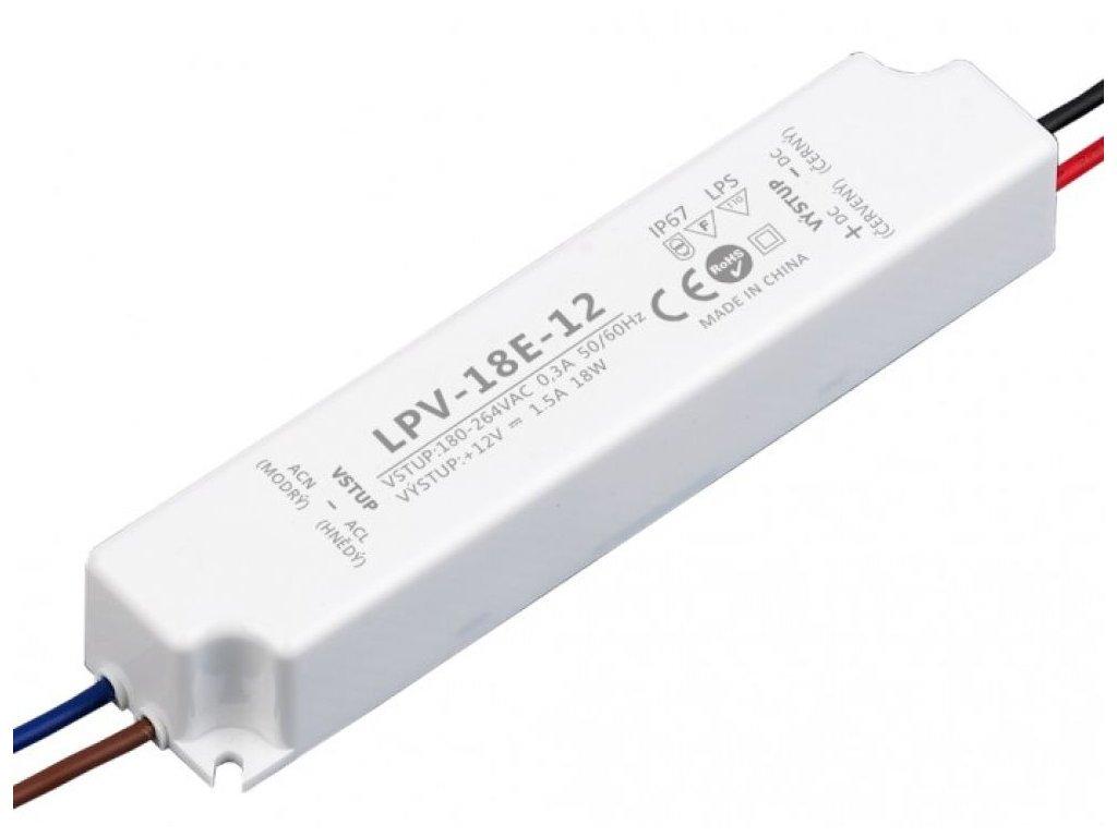 LED zdroj LPV 12V/18W, IP67