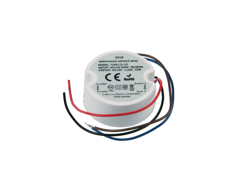 LED zdroj 12V/15W, IP67 pod vypínač