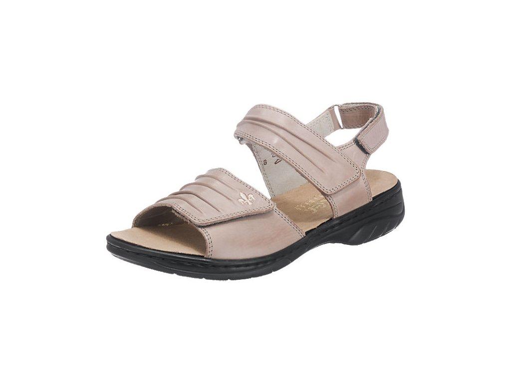 Dámské béžové kožené páskové  polohovací letní sandály boty 64560-42 RIEKER 2020