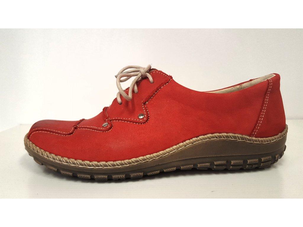 Dámské kožené červené šněrovací vycházkové boty se zdravotní stélkou HILBY CZ 608