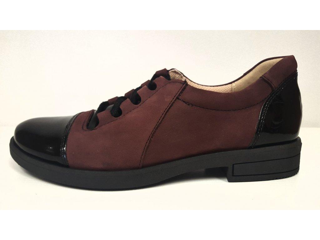 Dámská bordo kožená zdravotní vycházková obuv na šněrování s nízkým podpatkem HUJO J3340