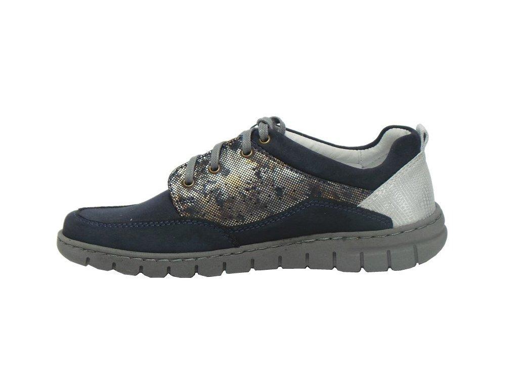 Dámské kožené modro / stříbrné šněrovací vycházkové boty se zdravotní stélkou nízký klínek HILBY CZ 688