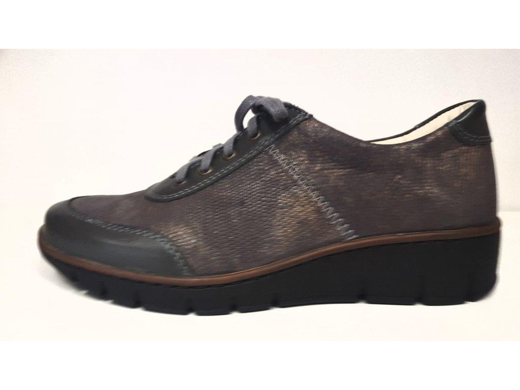 Dámské kožené šedo / zlaté šněrovací vycházkové boty se zdravotní stélkou nízký klínek HILBY CZ 603