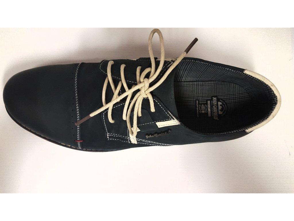 cb0b455789e ... Pánské vycházkové kožené tmavě modré šněrovací boty JOHN GARFIELD  MR571094 ...
