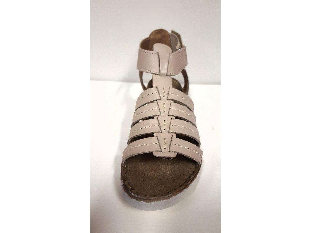 d8ab779179a ... Dámské kožené páskové sandály béžové zdravotní obuv na klínku SANTÉ VF  24 ...