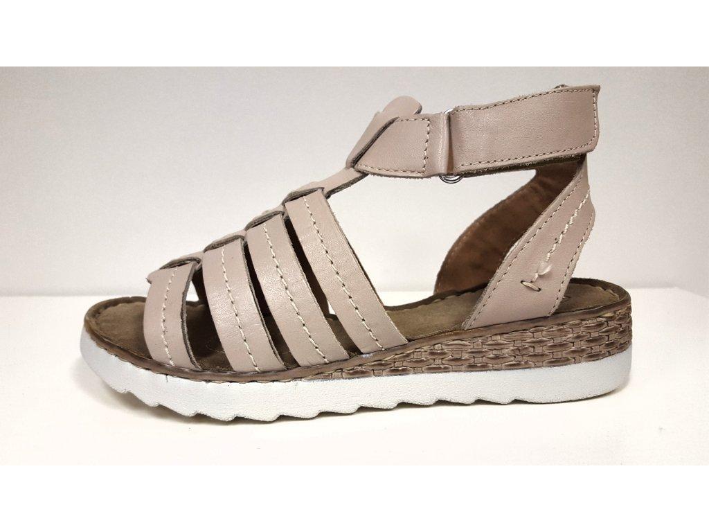 Dámské kožené páskové sandály béžové zdravotní obuv na klínku SANTÉ VF/24