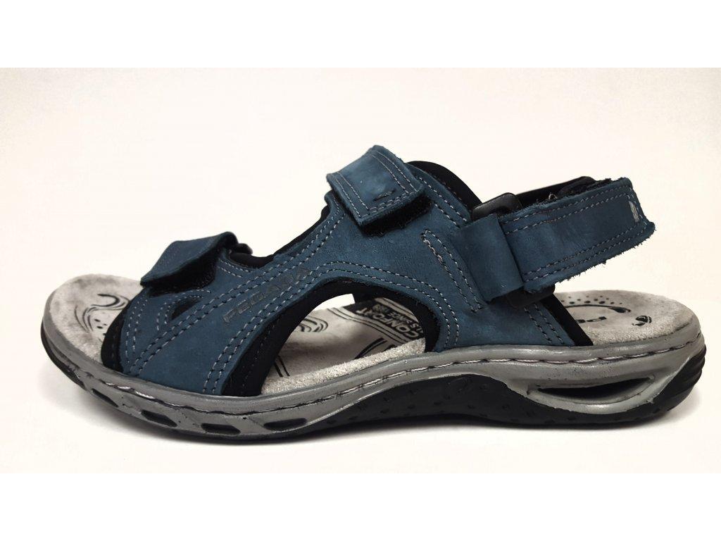 Dámské kožené modré letní sportovní sandály na nízkém klínku - zdravotně tvarované SANTÉ/ PEGADA