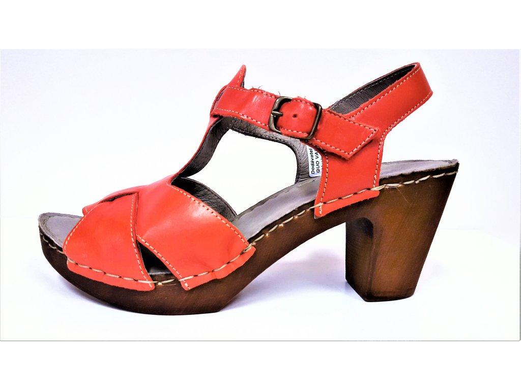 Dámské kožené červené letní sandály na podpatku RIZOLI 8100831