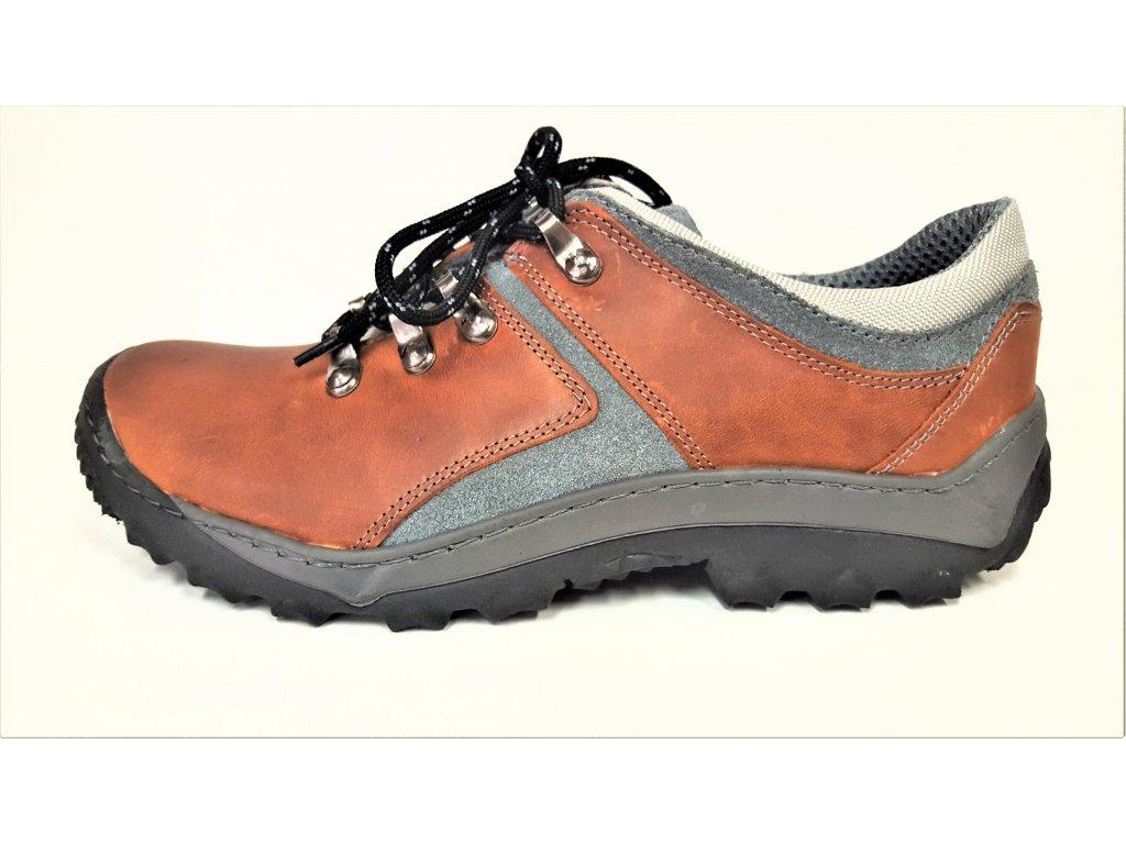 TREKOVÁ trekingová dámská obuv - rezavé - pomeranč kožené dámské sportovní  boty HUJO 2018