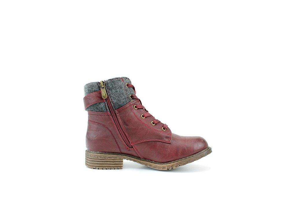 a9fc5eece1b ... Dámská zimní bordo kotníková obuv na nízkém podpatku John Garfield  L0753612 ...
