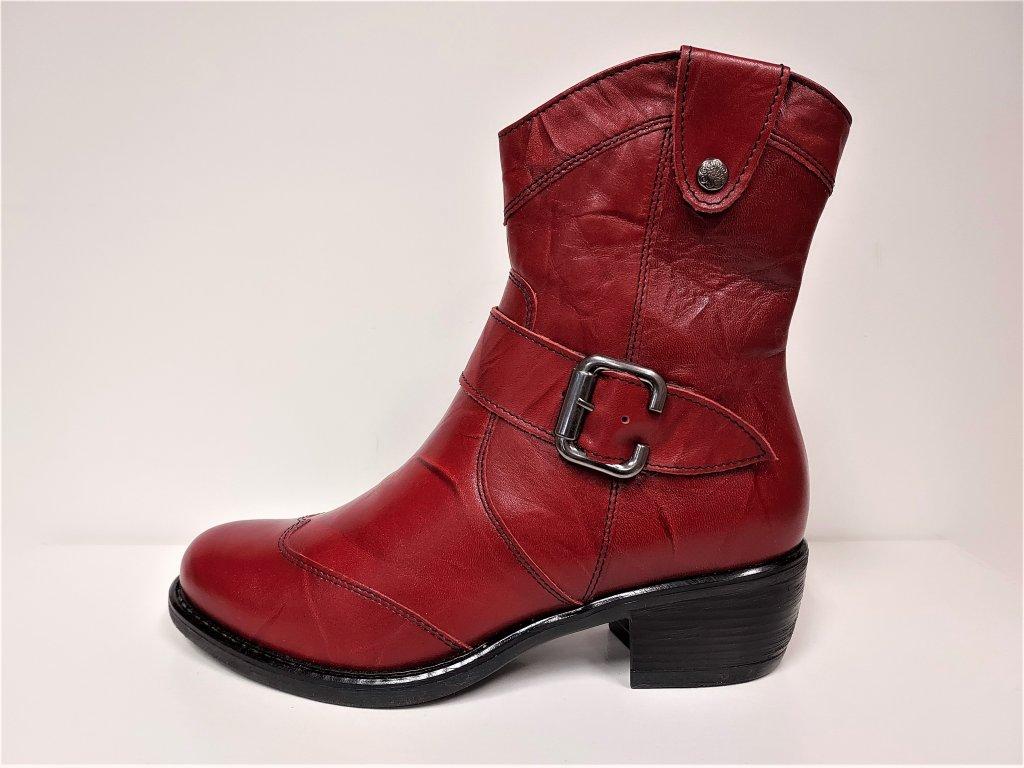 Kožená červená zimní kotníková na podpatku obuv JAMI 21117