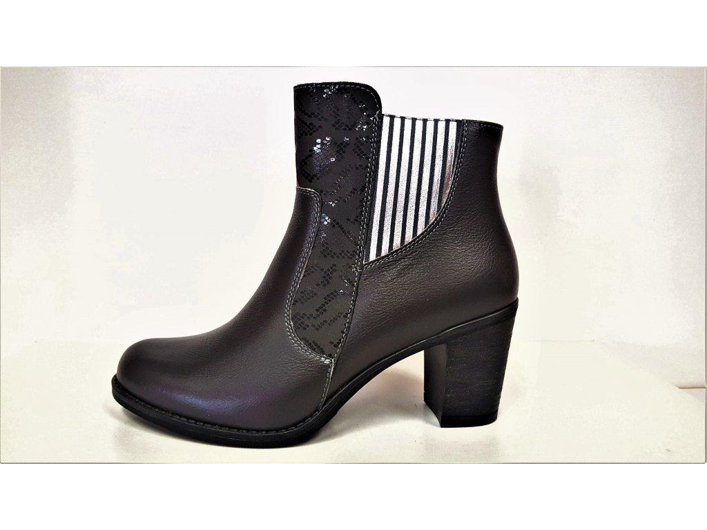 Kozačky na podpatku - elegantní - Polohovací šedé přizpůsobivé vario kožené kozačky na podpatku se zipem JAMI 22217