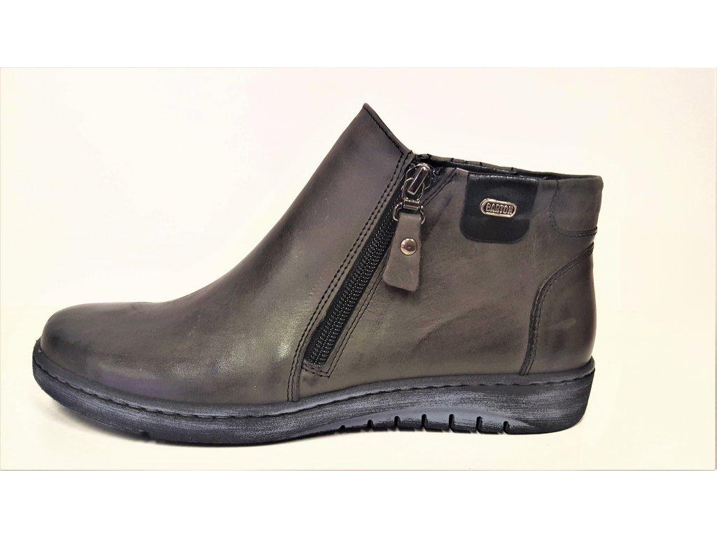 KOŽENÁ KOTNÍKOVÁ OBUV - Dámské kožené tmavě šedé kotníkové boty na klínu dva zipy JAMI  24318