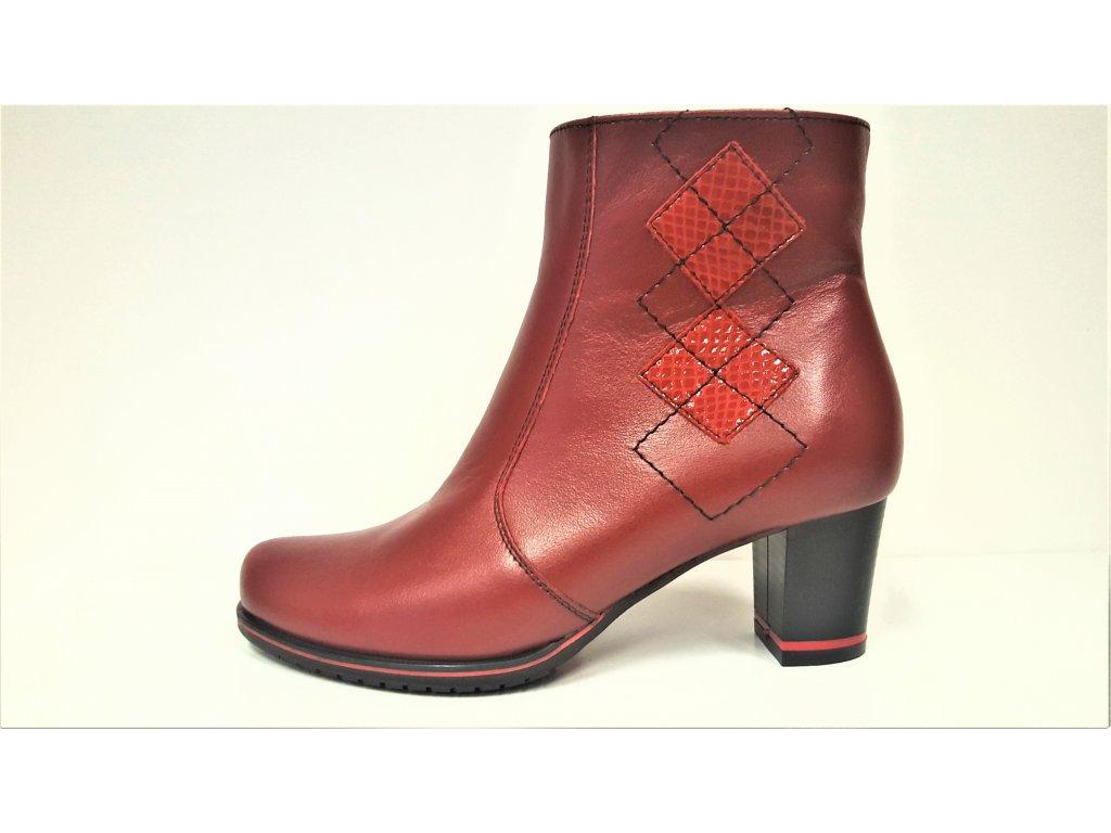 Kotníkové boty na podpatku - Dámské bordó vínové červené kožené kotníkové elegantní kozačky JAMI 22419