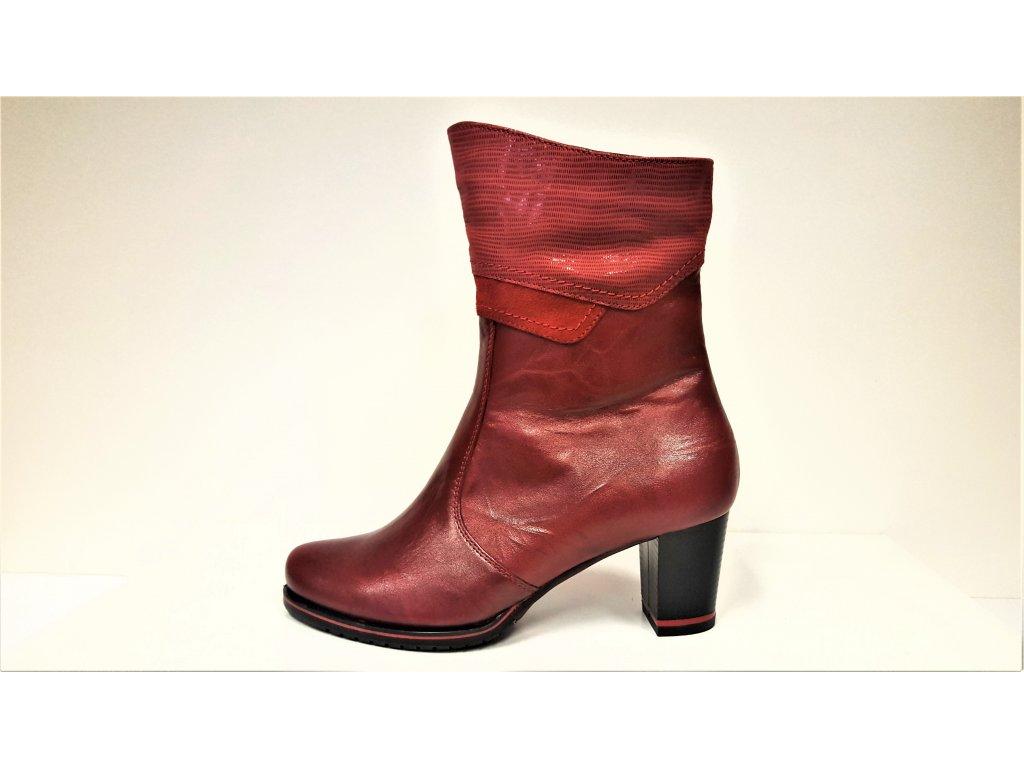 Kotníkové boty na podpatku - Dámské bordó vínové červené kožené kotníkové elegantní kozačky JAMI 25217