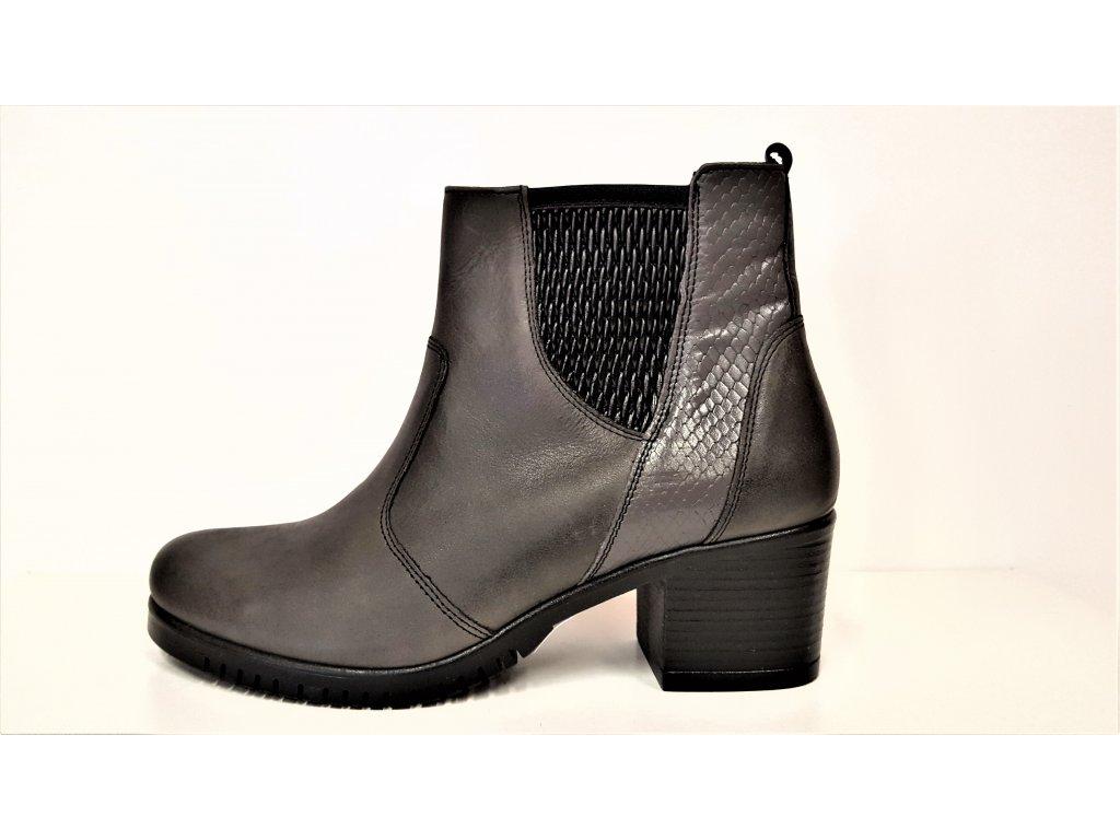 VARIO Kozačky na podpatku - elegantní - Polohovací šedo/černé přizpůsobivé vario kožené kotníkové boty na podpatku se zipem JAMI 23718