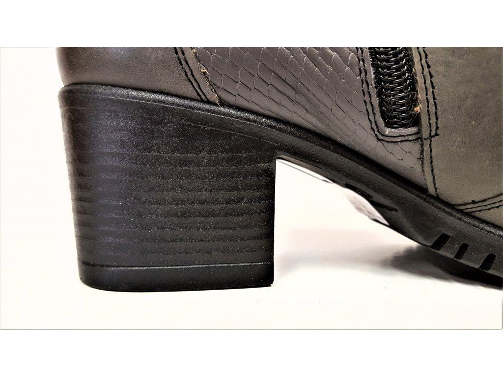 ... VARIO Kozačky na podpatku - elegantní - Polohovací šedo černé  přizpůsobivé vario kožené kotníkové boty ... 7bc9faa6be