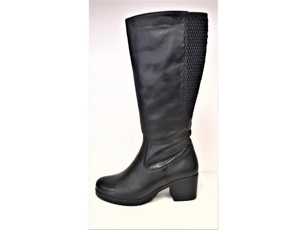 VARIO Kozačky na podpatku - elegantní - Polohovací černé přizpůsobivé vario kožené kozačky na podpatku se zipem JAMI 25417