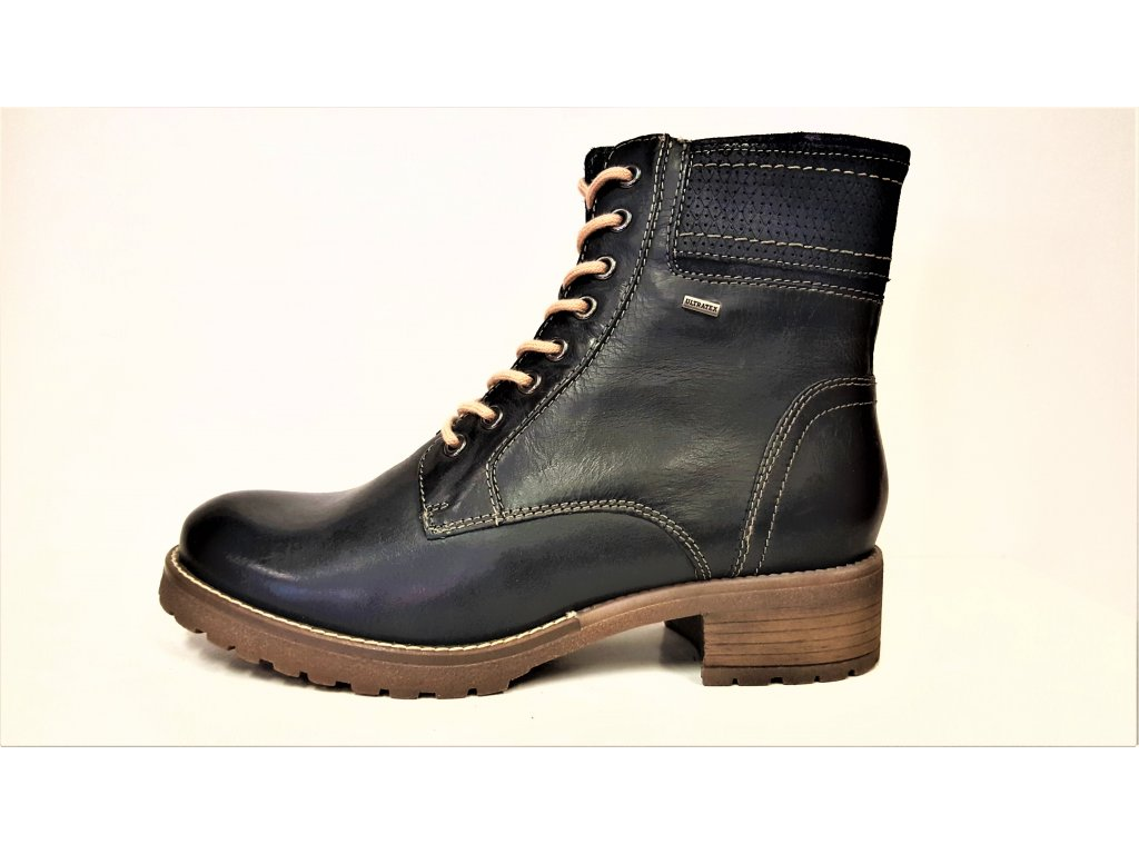 0a9f821981e ... Dámské kožené oteplené tmavě modré zimní sportovní boty   farmářky na  nízkém podpatku KLONDIKE 020h19 ...