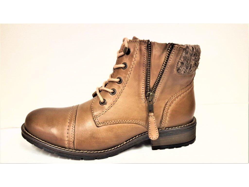 69c532f688 ... Dámské kožené hnědé kotníkové boty se šněrováním na podpatku KLONDIKE  021H11 ...
