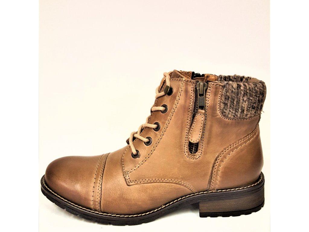 Dámské kožené hnědé kotníkové boty se šněrováním na podpatku KLONDIKE 021H11