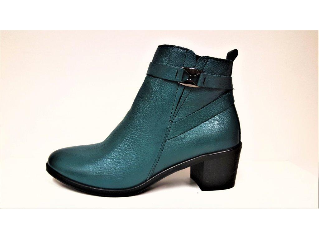 Dámské tmavě zelené / petrolejové kožené kotníkové kozačky, zateplené boty na podpatku JAMI 2221