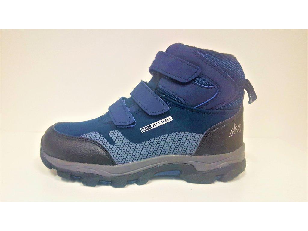 Dětská tmavě modrá softshell zimní teplá obuv s membránou na suchý zip MTJK -18-517