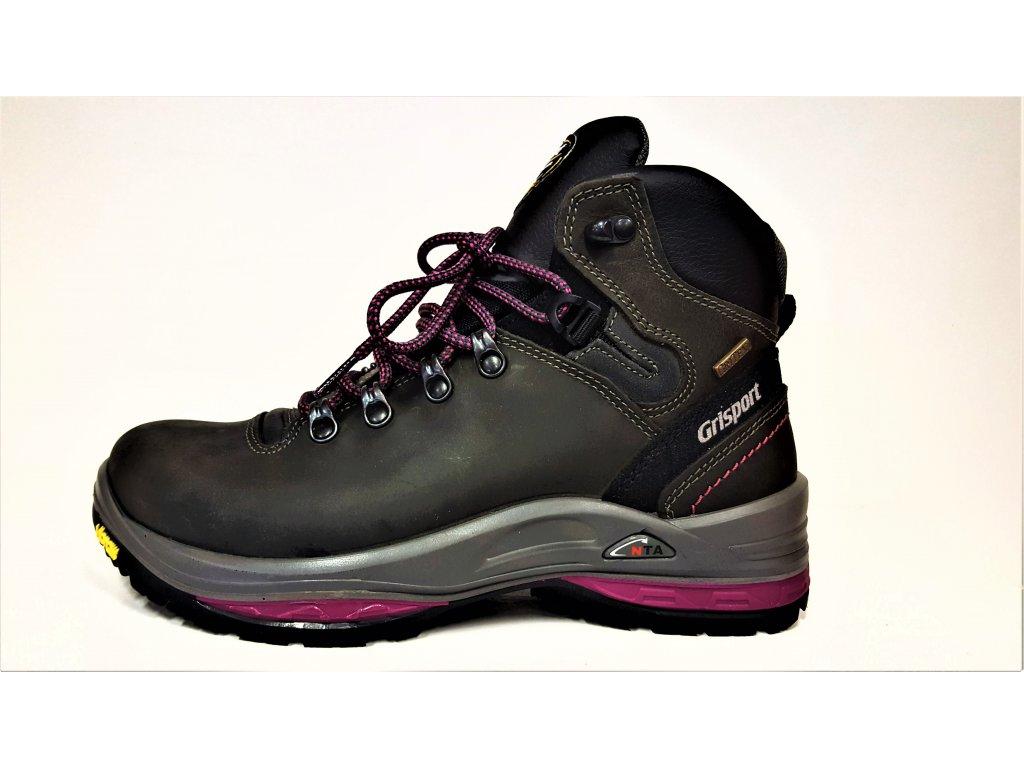 LUXUSNÍ TREKOVÁ trekingová dámská obuv - Růžové černé kožené celoroční nepromokavé trekingové dámské boty s vibram podrážkou GRI-TEX 13503