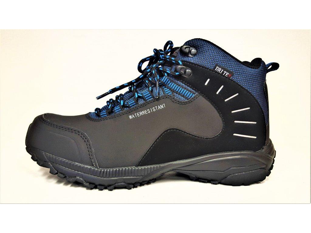 TREKOVÁ trekingová pánská obuv - černé / modré celoroční nepromokavé trekingové softshell kotníkové boty GRI-TEX MTJL-18-517