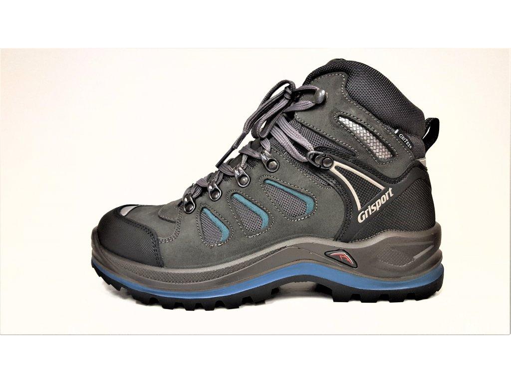 LUXUSNÍ TREKOVÁ trekingová pánská obuv - celoroční modré / černé / tmavě šedé NEPROMOKAVÉ trekingové pánské boty s vibram podrážkou GRI-TEX 13711