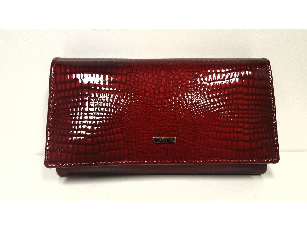 Kožená bordo červená lakovaná luxusní dámská peněženka 203