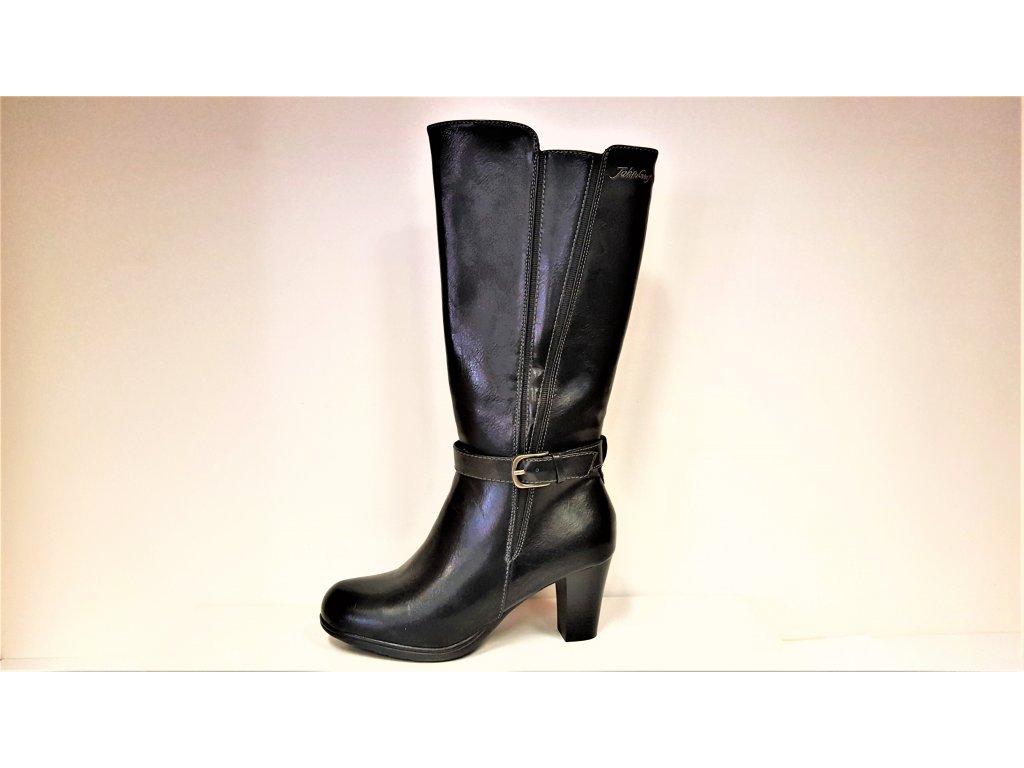 Kozačky na podpatku - elegantní - Zateplené dámské černé kozačky na podpatku se zipem JOHN GARFIELD 653030