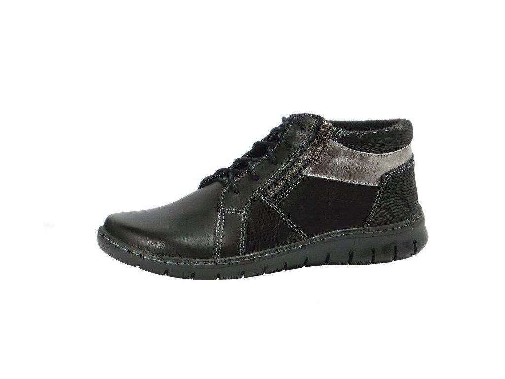 Dámské kožené šněrovací černé kotníkové nízké boty HILBY 871