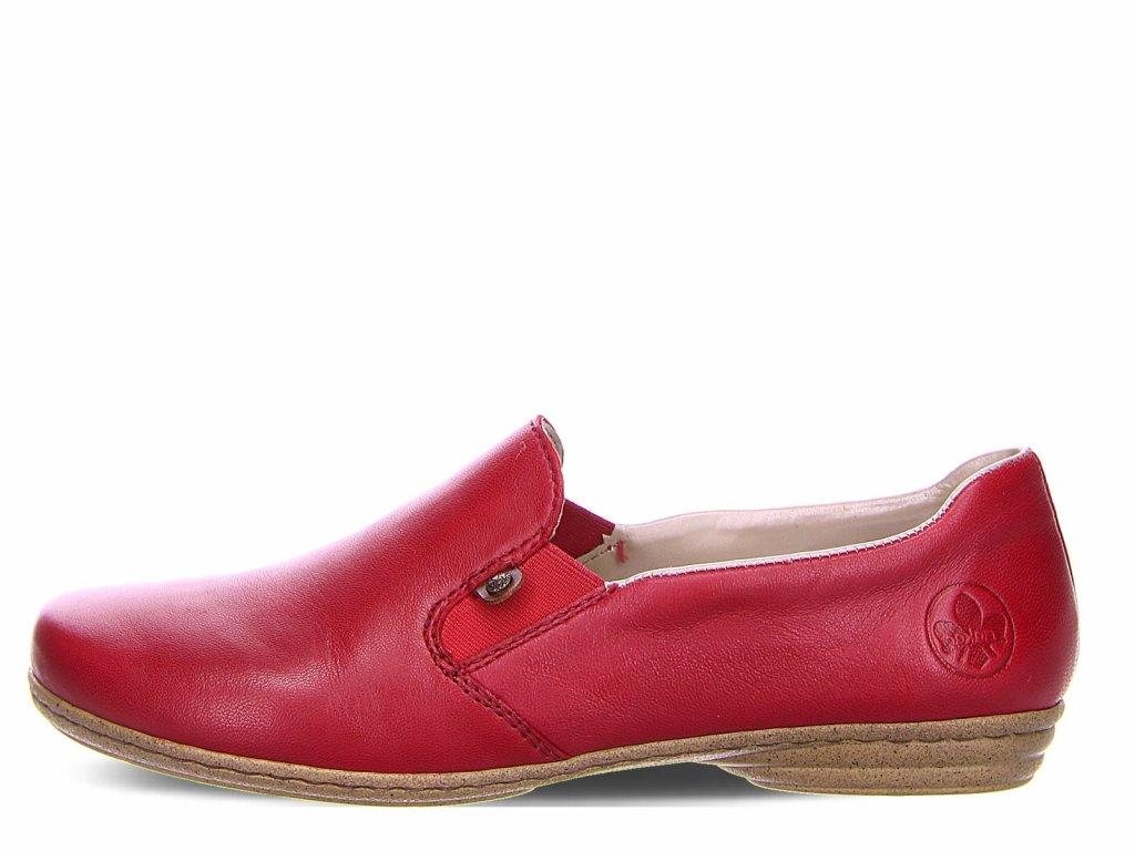 Dámské kožené červené boty RIEKER 53960-33