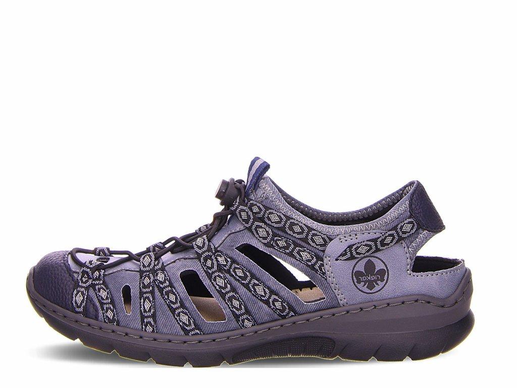 Dámské trekové pohodlné sandály s uzavřenou špičkou na nízkém klínku, stélka gelová MemoSoft  RIEKER L32p8-14