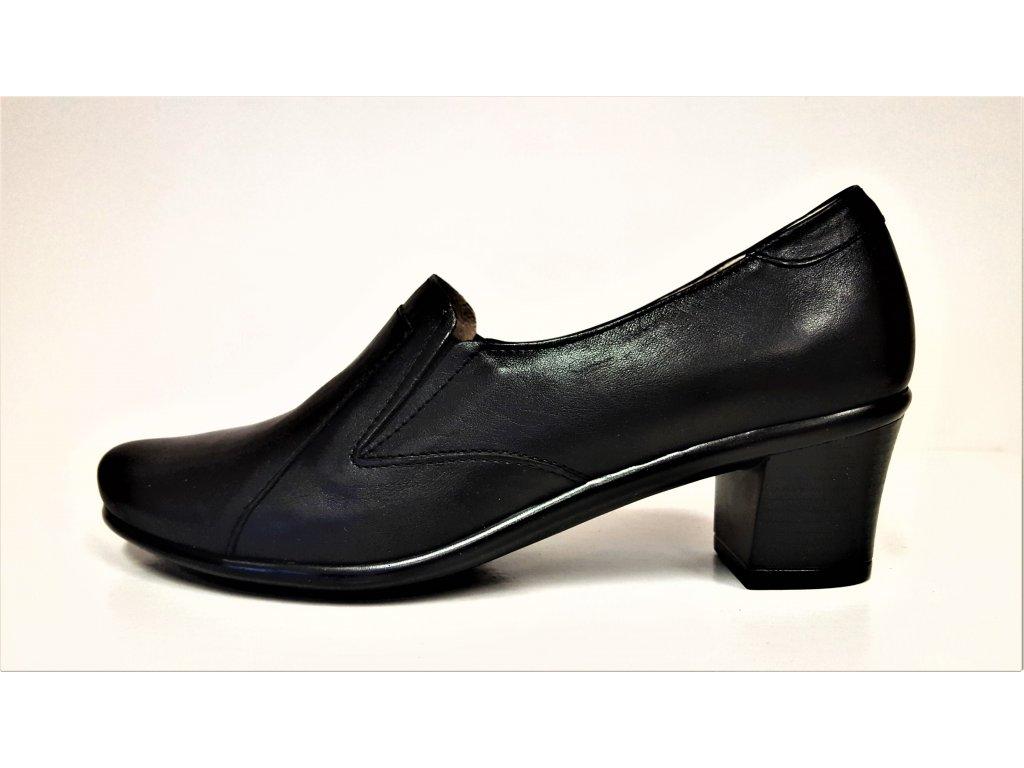 Kožené lodičky - Černé kožené dámské celoroční lodičky s gumičkou na nízkém podpatku STEFANO 6718