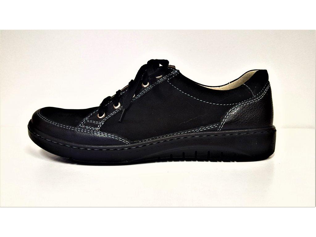 Zdravotní obuv - Celo Kožené černé dámské vycházkové šněrovací boty polobotky na klínku BARTON 4719