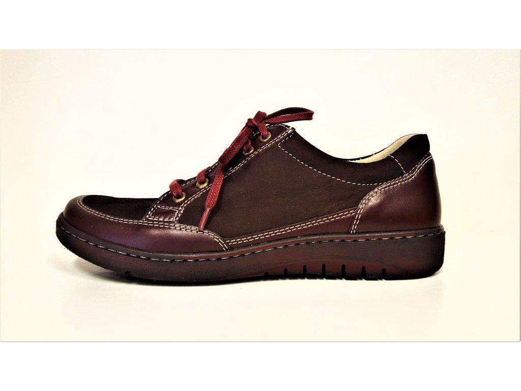 Zdravotní obuv - Celo Kožené bordo dámské vycházkové šněrovací boty polobotky na klínku BARTON 4819