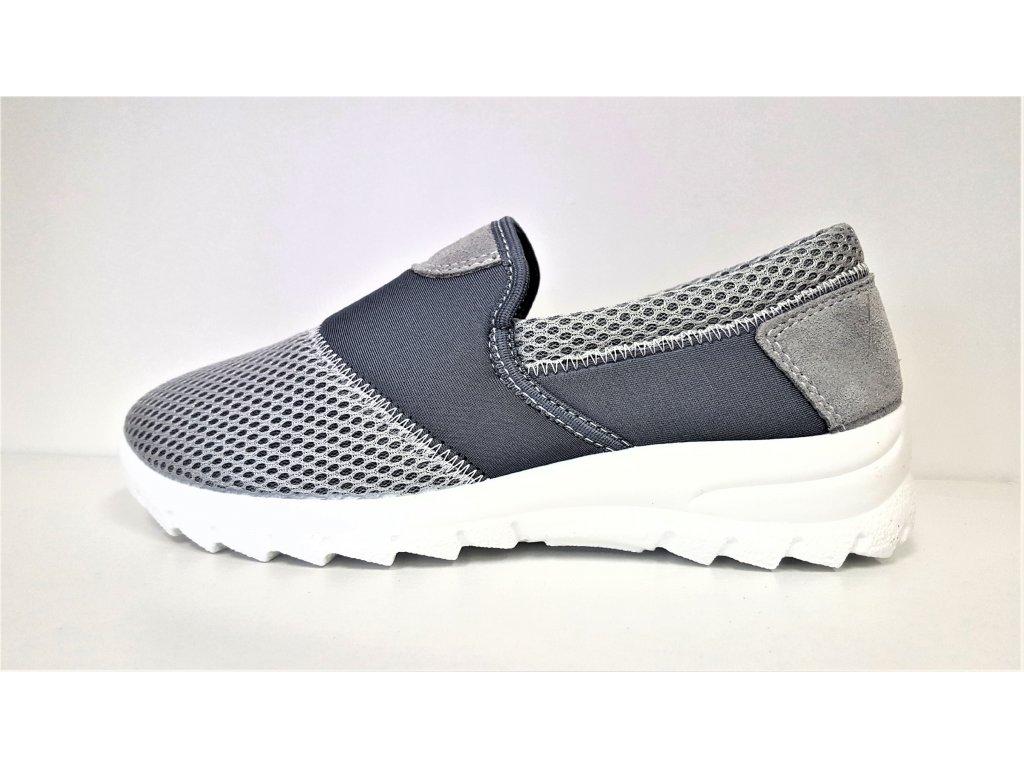 TENISKY - zdravotní obuv - dámská sportovní obuv - Šedé přizpůsobivé tenisky boty nízkém klínku stélka MemoSoft Orto Med 4001